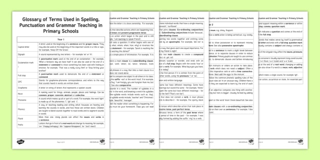 Glossary Of Terms To Help Parents >> New Year 6 Spag Glossary Parent And Carer Information Sheets