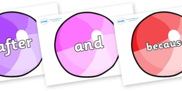 Connectives on Beachballs - Connectives, VCOP, connective resources, connectives display words, connective displays