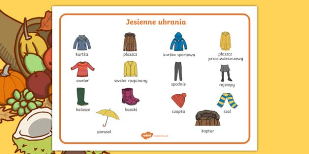 Autumn clothes word mat Polish-Polish
