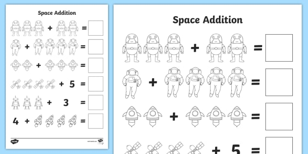 space addition with pictures worksheets worksheets worksheet work sheet space outer - Addition Worksheet