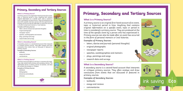 Primary Secondary And Tertiary Sources A4 Display Poster