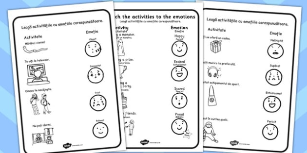 Emoțiile noastre - Fișă de lucru - emoțiile noastre, emoții, frică, bucurie, veselie, teamă, dezvoltare personală, materiale, materiale didactice, română, romana, material, material didactic