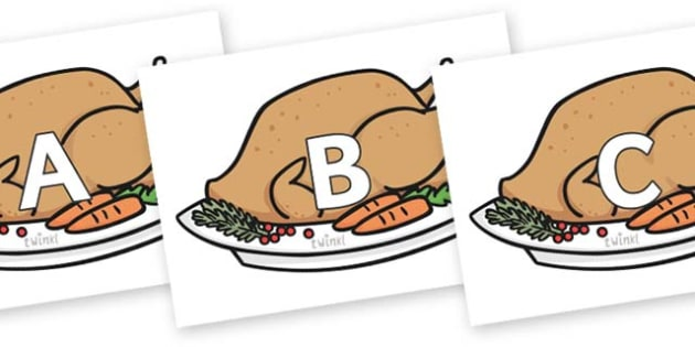 A-Z Alphabet on Christmas Turkeys - A-Z, A4, display, Alphabet frieze, Display letters, Letter posters, A-Z letters, Alphabet flashcards