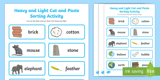Heavy and Light Cut and Paste Sorting Activity - heavy, light