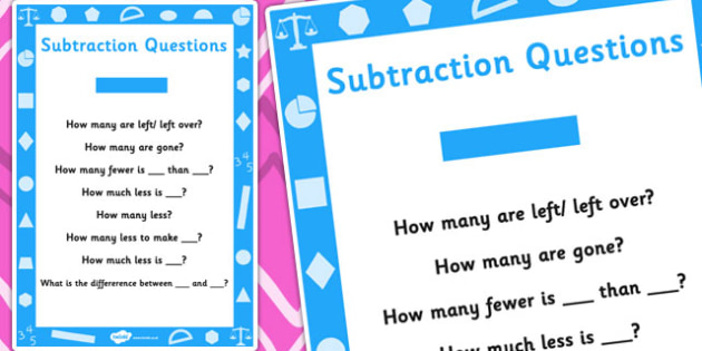 Key Stage 1 Subtraction Questions Poster - Maths, Questions, Subtract