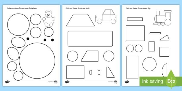 Formen bilden Arbeitsblätter - Mathe, Geometrie, Flächen