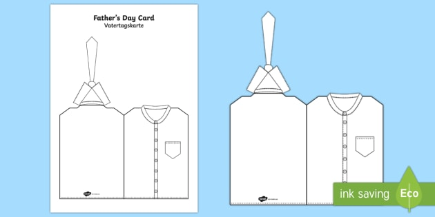 father s day shirt and tie cards english german fathers day