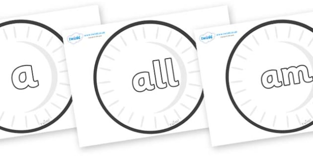 Foundation Stage 2 Keywords on Circles (Plain) - FS2, CLL, keywords, Communication language and literacy,  Display, Key words, high frequency words, foundation stage literacy, DfES Letters and Sounds, Letters and Sounds, spelling
