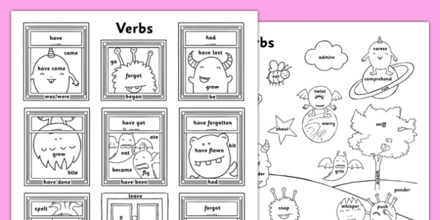 Verb Types Colouring Sheets - verb types, colouring sheet, colouring, sheet, colour