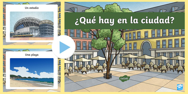 Places in Town PowerPoint - Spanish KS2, places, town, city, village, powerpoint