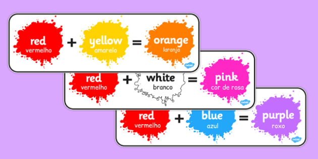 Colour Mixing Pack Portuguese Translation - portuguese, colour, mixing, pack, colour mixing