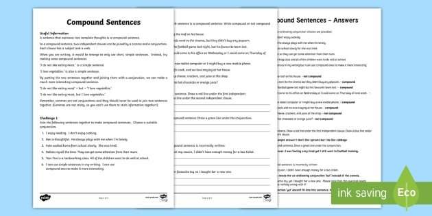 Compound Sentence Activity For Kids
