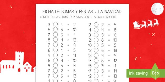 Ficha de actividad: Sumar y restar - La Navidad - sumar, restar, sumas, restas, adición, sustracción, navidad, navideño, navideña,Spanish