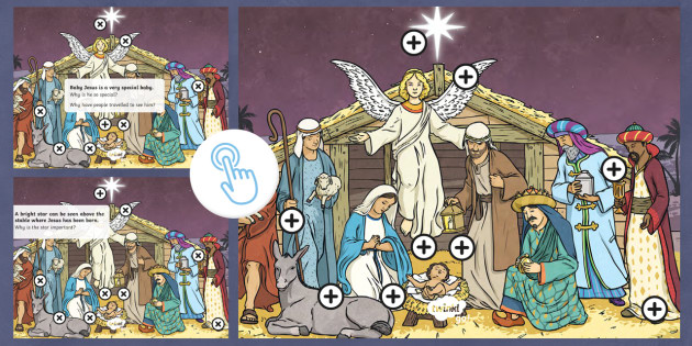 Nativity Questions Picture Hotspots - Twinkl Go, twinkl go, TwinklGo, twinklgo, Picture hotspots, nativity, Christmas, angel, star, stable, manger, Bethlehem, shepherds, wise men