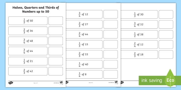 Halves, Quarters and Thirds of Numbers up to 50 Worksheet - Half and ...