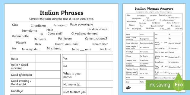 Italian Common Phrases Table Worksheet Activity Sheet