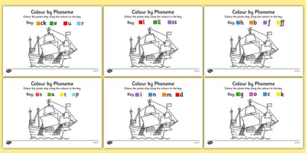 Colour by Phoneme Pirate Ship Phase 2 Activity Pack - colour, phonemes, pirate ship, phase 2, satpin