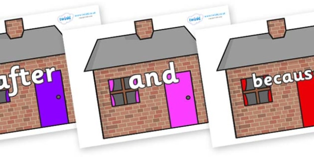 Connectives on Brick houses - Connectives, VCOP, connective resources, connectives display words, connective displays