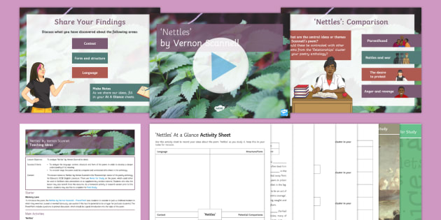 GCSE Poetry Lesson Pack to Support Teaching on 'Nettles' by Vernon Scannell, Nettles, Vernon Scannell, War Poets, War Poetry, Edexcel, Relationships cluster.