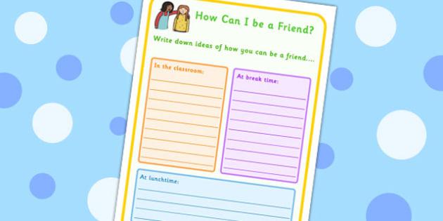 How Can I Be A Friend Worksheet - friendship, SEN, communication