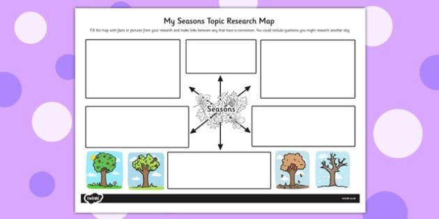 Seasons Topic Research Map - topic, research map, seasons, map