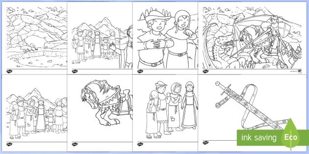 Hojas de colorear: San Jorge y el dragón - San Jorge, sant