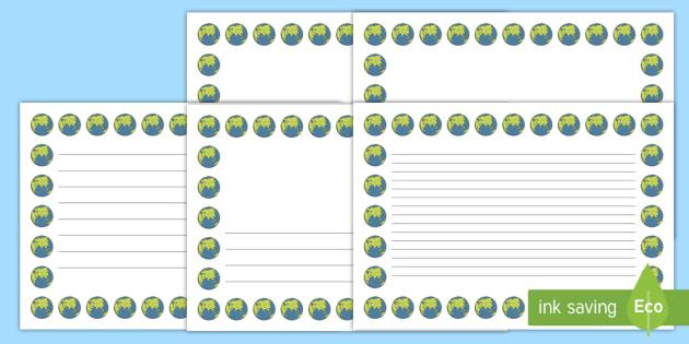 Earth Landscape Page Borders- Landscape Page Borders - Page border, border, writing template, writing aid, writing frame, a4 border, template, templates, landscape