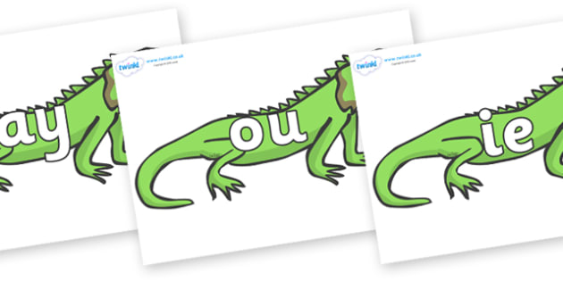 Phase 5 Phonemes on Iguanas - Phonemes, phoneme, Phase 5, Phase five, Foundation, Literacy, Letters and Sounds, DfES, display