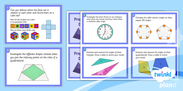 PlanIt Maths Y5 Properties of Shapes Challenge Cards