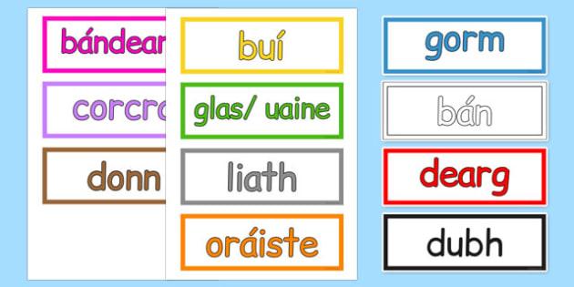 Colours Vocabulary Cards Gaeilge - gaeilge, irish, colours, vocabukary, cards