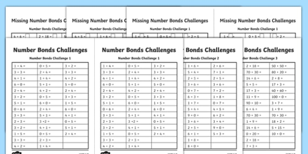 Number Bonds Challenge Activity Sheet Pack - number bonds, challenge, activity, sheet, pack, worksheet
