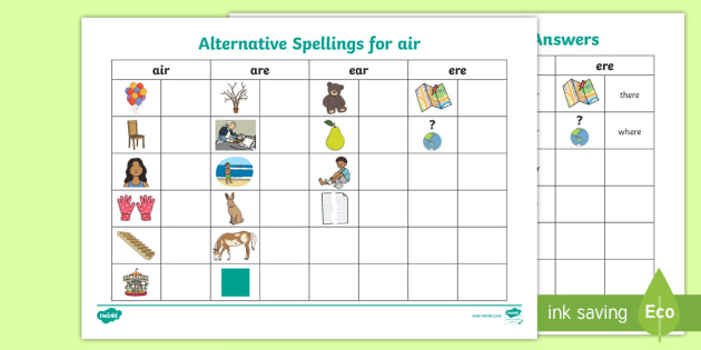 New alternative spellings air are ear table activity sheet new alternative spellings air are ear table activity sheet air are ccuart Choice Image
