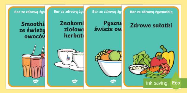 Plakaty Bar Ze Zdrowa Zywnoscia Restauracja Jedzenie Chigiena