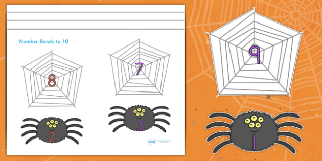 Halloween Number Bonds to 10 on Spiders and Webs - halloween, halloween number bonds, spider web number bonds, halloween numeracy, counting, 0-10 bonds