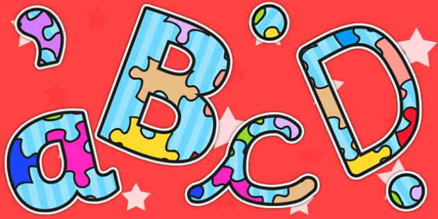 Jigsaw Puzzle Themed Size Editable Display Lettering - letters
