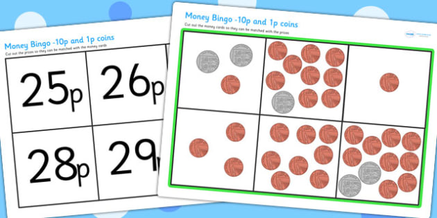 Money Bingo 10p and 1p New Coins - money, lotto, money games