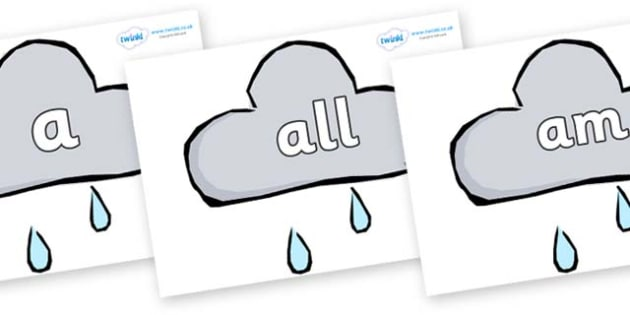 Foundation Stage 2 Keywords on Weather Symbols (Rain) - FS2, CLL, keywords, Communication language and literacy,  Display, Key words, high frequency words, foundation stage literacy, DfES Letters and Sounds, Letters and Sounds, spelling