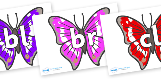 Initial Letter Blends on Emperor Butterflies - Initial Letters, initial letter, letter blend, letter blends, consonant, consonants, digraph, trigraph, literacy, alphabet, letters, foundation stage literacy