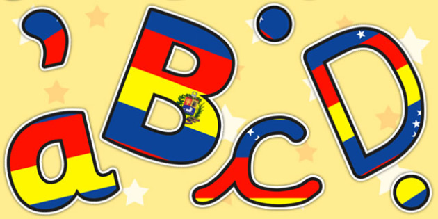 Venezuela Flag Themed A4 Display Lettering - venezuela, letters