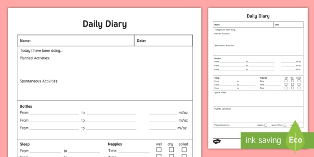 diet and exercise journal template