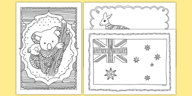 Australia Mindfulness Colouring Sheets