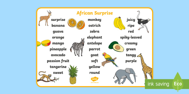Word Mat Text to Support Teaching on Handa's Surprise - words, literacy, aid, visual