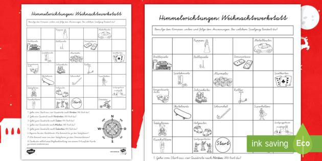 Himmelsrichtungen in der Weihnachtswerkstatt Arbeitsblatt