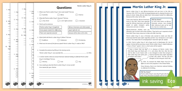Martin Luther King KS2 Reading Comprehension Activity