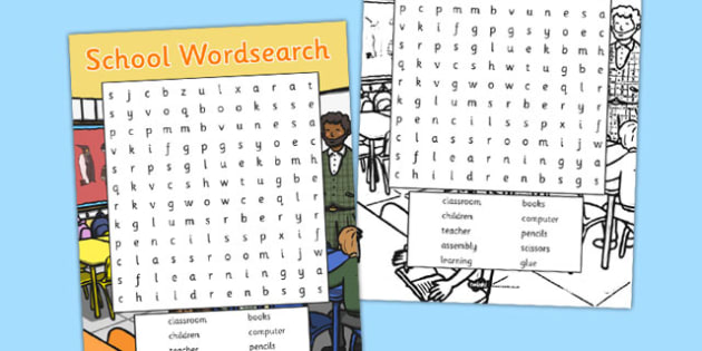 School Wordsearch - school, wordsearch, word search, word, search