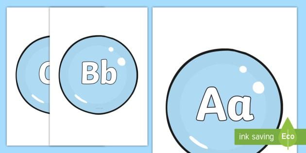 Cursive A Z Alphabet On Bubbles Display Cut Outs