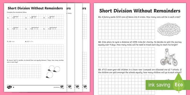 Short Division Without Remainders Worksheets Teacher Made Short division worksheet twinkl
