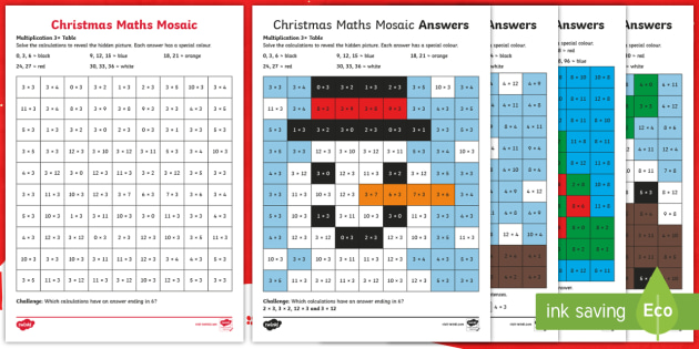 3, 4 and 8 Christmas Multiplication Mosaic Worksheets