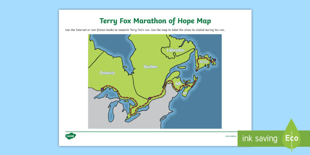 Terry Fox Marathon of Hope Map - Terry Fox, marathon, marathon of hope, map, canada, run, walk, endurance, athlete