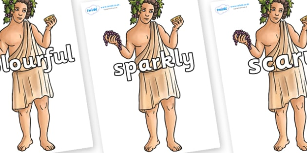Wow Words on Dionysus - Wow words, adjectives, VCOP, describing, Wow, display, poster, wow display, tasty, scary, ugly, beautiful, colourful sharp, bouncy